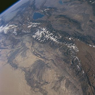 Tian Shan - Tian Shan Mountains from space, October 1997, with Issyk-Kul Lake in Kyrgyzstan at the northern end