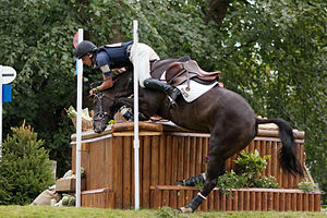 Eventing - Tim Price does well to stay on as Vortex refuses at the Dairy Mounds during the cross country phase of Burghley Horse Trials 2009.