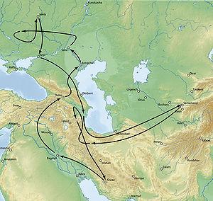 Tokhtamysh–Timur war - Timur's movements, 1392-1396.