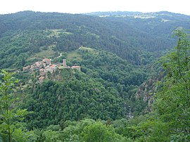 Tiranges, overlooking the gorges of Ance and Château de Chalencon