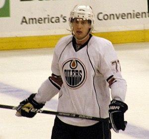Tom Gilbert -  Gilbert playing for the Edmonton Oilers.