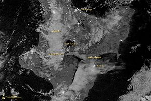 Mount Tongariro - NASA satellite image of the August 2012 eruption, from Suomi NPP