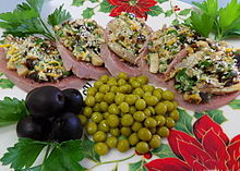 Russian Zakuski Cold Cuts Of Tongue Topped With Mushrooms Cheese Nuts And Prunes