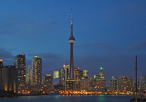 Nighttime view of the Harbourfront and Downtown Toronto, in the center of the CN Tower