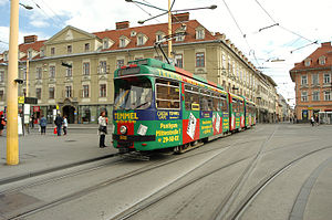 Jakomini - Streetcar on Jakomini place in 2007.