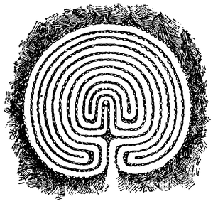 """Troy Town - The eleven-ring """"Trojeborg"""" labyrinth, from Visby, Sweden (Illustration from the Nordisk familjebok, 1926)"""