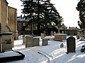 Trumpington churchyard in the snow - geograph.org.uk - 1654401.jpg