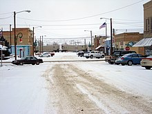 Downtown Terry, Montana during a typical snowy day.