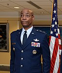 U.S. Air Force Maj. Gen. Roosevelt Mercer Jr., left, promotes Lt. Col. David D. Kelley to the rank of colonel at the Pentagon in Washington, Nov. 26, 2013 131126-A-GH914-008.jpg