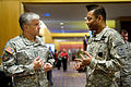 U.S. Army Deputy Chief of Staff, G-1 Lt. Gen. Thomas P. Bostick, right, talks with Chief of Staff of the Army, Gen. George W. Casey Jr., before they join the 3rd Annual Sexual Harassment and Sexual Assault 100330-A-VO565-001.jpg