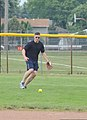 U.S. Coast Guard Capt. Eric Vogelbacher, the division chief of the resources and planning division with the 9th Coast Guard District in Cleveland, fields a ground ball during his unit's softball practice 130731-G-KB946-036.jpg