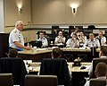 U.S. Coast Guard Vice Adm. John Currier, standing left, vice commandant of the Coast Guard, speaks during the Major Cutters Commanding Officers' Workshop at Joint Base Andrews, Md., April 23, 2013 130423-G-VS714-022.jpg