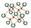 Ball and stick model of cubic-like crystal structure containing two types of atoms.