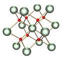 Modelo de bola y palo de estructura cristalina cúbica que contiene dos tipos de átomos.