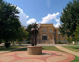 Chickasha, Oklahoma - Te Ata statue in front of Trout Hall on the USAO campus