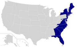 Map of the East Coast of the United States, excluding subdivisions with tidal arms of the Atlantic