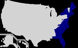 Карта восточного побережья США без подразделений с приливными рукавами Атлантики.