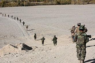 Musa Qala - Afghan National Army (ANA) patrolling alongside U.S. Marines in Musa Qala (2010)