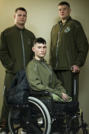 Physical training uniform - Marines from the Wounded Warrior Regiment wearing the Marine Corps PT tracksuit