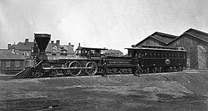 United States Military Railroad - United States Military Railroad 4-4-0 locomotive W.H. Whiton (built by William Mason in 1862) in January 1865 with Abraham Lincoln's presidential car, which later was used as his funeral car.