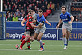 USO - Saracens - 20151213 - Florian Faure trying to tackle Neil de Kock and losing his shoe.jpg