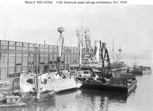 USS America (ID-3006) - Salvage efforts under way on the USS America