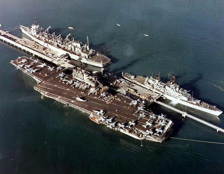 File:USS Coral Sea - Belknap (CG-26) and Seattle (AOE-3) at Augusta Bay Sicily in 1988.jpg