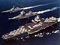 USS Enterprise (CVAN-65), USS Long Beach (CGN-9) and USS Bainbridge (DLGN-25) underway in the Mediterranean Sea during Operation Sea Orbit, in 1964.jpg