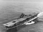 USS Franklin (CV-13) approaching New York, April 1945