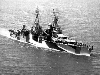 USS Indianapolis (CA-35) - Indianapolis in 1944 dazzle camouflage pattern