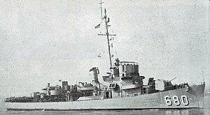 USS Loeser (DE-680) underway, circa in 1957