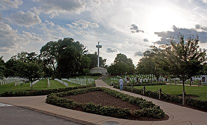 USS Maine Mast Monument at dusk in Arlington National Cemetery.jpg
