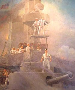 Detail of painting in the Vermont State House depicting Dewey on the USS Olympia during the Battle of Manila Bay