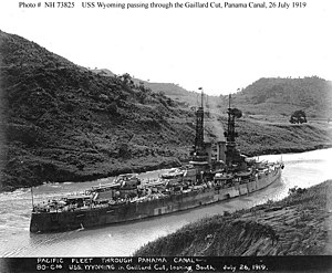 USS Wyoming (BB-32) - Wyoming transiting the Panama Canal on 26 July 1919