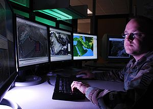 557th Weather Wing - Weather technician analyzes cloud bases for Southwest Asia at Offutt Air Force Base
