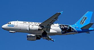 American Airlines - Airbus A319 of US Airways wearing Carolina Panthers livery