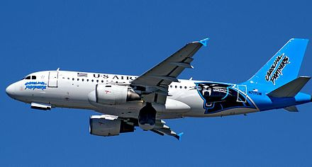 Airbus A319 of US Airways wearing Carolina Panthers livery US Airways A319-112 LAS N717UW.jpg