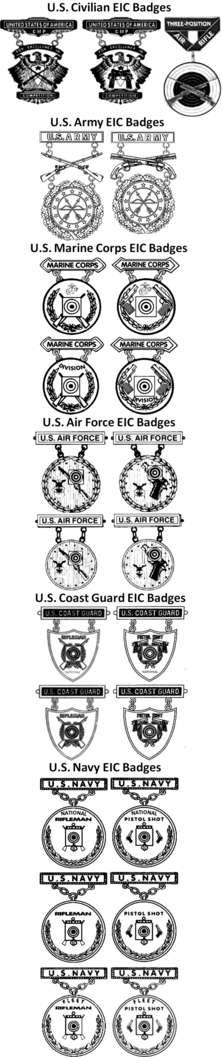 Drawings of the U.S. Military's Excellence-in-Competition Badges