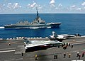 US Navy 050717-N-2838C-001 The Spanish Navy frigate Alvaro De Bazan (F 101) pulls alongside the Nimitz-class aircraft carrier USS Theodore Roosevelt (CVN 71) to observe flight operations.jpg