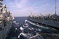 US Navy 050803-N-8154G-042 The amphibious assault ship USS Bataan (LHD 5) receives fuel from the fast-combat support ship USS Camden (AOE 2).jpg
