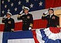 US Navy 051209-N-1126D-004 Capt. James Pope, Adm. John B. Nathman, Rear Adm. Annette E. Brown, salute the colors.jpg