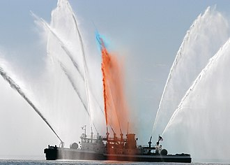Fire Fighter (fireboat) - Image: US Navy 060524 N 9640H 004 A New York City fireboat renders honors to U.S. Navy ships arriving for Fleet Week New York 2006,