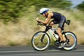 US Navy 061020-N-4856G-012 Chief Special Operations (SEAL) Mitch Hall assigned to Naval Special Warfare Center road tests the Navy SEAL racing bike one day prior to the 2006 Ironman World Championship.jpg