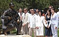 US Navy 070704-N-6402M-005 Family, friends and Littleton city officials view the larger-than-life bronze statue of Gunner's Mate 2nd Class (SEAL) Danny P. Dietz.jpg