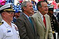 US Navy 091025-N-1854W-228 The Commanding Officer of USS George H.W. Bush (CVN 77) Capt. Chip Miller, left, and Presidents George W. Bush, center, and George H.W. Bush.jpg