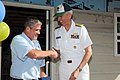 US Navy 100318-N-8190H-058 Vice Adm. Samuel Locklear III, director of Navy staff, shakes hands with Ralph Jackson, affiliate CEO for Habitat for Humanity Hillsborough County, after being presented with a ball cap.jpg