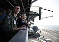 US Navy 101206-N-4973M-083 Secretary of Defense Robert M. Gates observes flight operations supporting Operation Enduring Freedom aboard the aircra.jpg