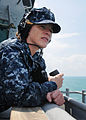 US Navy 110430-N-OY473-043 Yeoman 2nd Class Carleen Yates, assigned to the amphibious dock landing ship USS Carter Hall (LSD 50), operates a sound.jpg