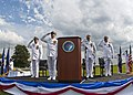 US Navy 110930-N-KK576-352 The official party salutes as the color guard parades the colors during a change of command ceremony at Fort McHenry Nat.jpg