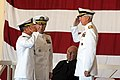 US Navy 111003-N-LD296-095 Vice Adm. Harry B. Harris Jr., left, commander of U.S. 6th Fleet, relinquishes his duties as he salutes Adm. Samuel Lock.jpg